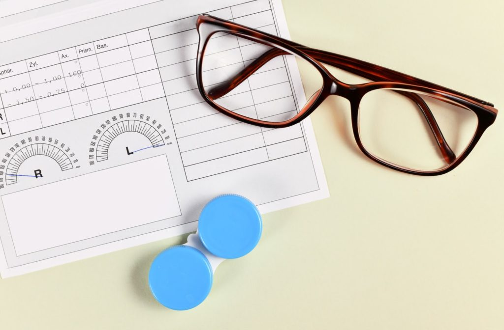 A close-up image of a pair of glasses and contact lens case laying on top of an eye glass prescription sheet.